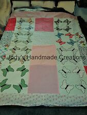 "Handmade Old Fashion Applique Butterflies / Pinks Quilt Top Unfinished 65"" X 78"""