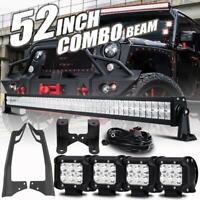 "For Jeep Wrangler JK 52"" 700W +4"" Pods CREE LED Light Bar A-Pillar Mount Bracket"