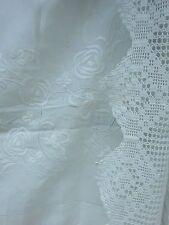 Fabulous Embroidered Linen Tablecloth Lace Trim Antique Vintage White