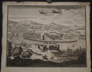 MEXICO CIY TENOCHTITLAN MEXICO 1720ca ANONYMOUS UNUSUAL ANTIQUE CITY VIEW
