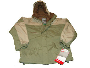 Burton Insulated Element Snowboard Winter Jacket Vented Military Green Boy's L