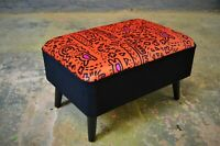 Brand New Mid Century Style Footstool Keith Haring Style Velvet Upholstery