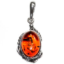 2.6g Authentic Baltic Amber 925 Sterling Silver Pendant Jewelry A1865