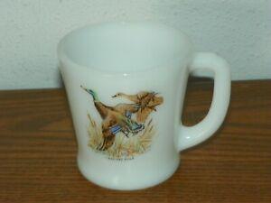 Vintage Fire King Milk Glass MALLARD DUCK Game Bird Coffee Cup Mug