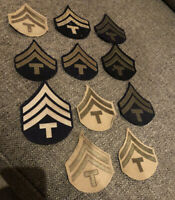 Lot Of ( 11 ) Mint WWII US ARMY Technician Fifth Grade T/5 Enlisted Rank PATCHES