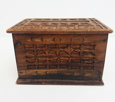 Wooden Cigarette Box Dispenser Hand Carved Ethnic Rustic