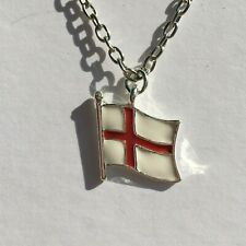 """ENGLAND FLAG SILVER PLATED ENAMEL PENDANT RED SAINT GEORGE CROSS WHITE 18"""" CHAIN"""