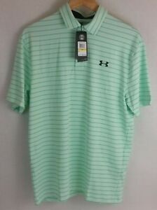 Under Armour The Playoff Polo Short Sleeve Light Green Stripes 1351130 299