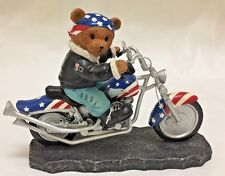 """BEAR TO BE WILD Faithful Fuzzies """"BORN TO RIDE C0LLECTION"""" Sculpture No. 51080"""