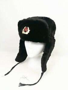 Hat Russian Ushanka Grey with Soviet Army Soldier Black Earflaps Costume P166