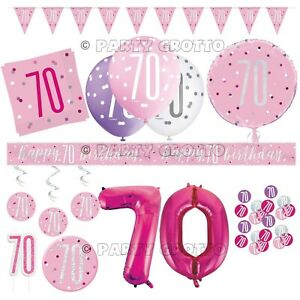 Pink 70th Birthday Party Decorations Supplies Ladies Balloons Banners Age 70