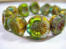 10 beads -  Aqua / Green / White Picasso Czech Glass Flower Beads 14mm