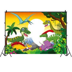 Cartoon Dinosaur Photography Backdrop Kids Birthday Party Photo Background Decor