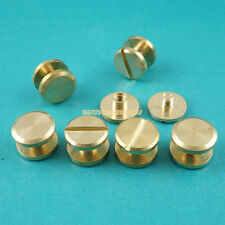 50 Set 10*3mm Solid Brass Rivet Chicago Screw for Leather Craft Flat