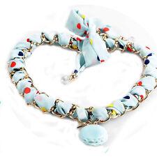 Collana con Foulard Secret of Macarons macaron azzurro pois nuova necklace