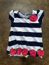 Bonnie Baby Blue & White Stripe Dress With Pink Flower Embellishments, 12 Month