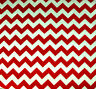 """RED AND WHITE CHEVRON POLY COTTON FABRIC 60"""" By the Yard 3/4"""" ZIGZAG PRINT"""