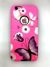 iPhone 6 , iPhone  6s Cover Pink Butterfly Hard Hybrid Slim Case