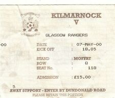 Ticket - Kilmarnock v Rangers 07.05.2000