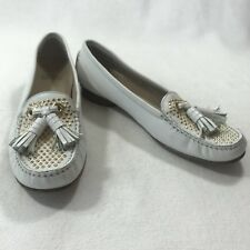 Stuart Weitzman Womens Sz 6 N White Leather Gold Studded Tassel Loafers Moccasin