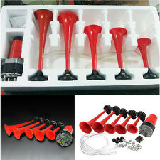 Red 5X Trumpet Car Van DIXIE Musical Air Horn La Cucaracha 125db Compressor Kit