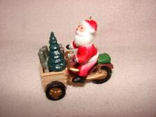VINTAGE SANTA RIDING A THREE WHEELER MOTORCYCLE CHRISTMAS ORNAMENT