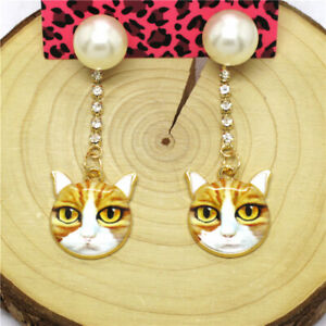 Hot Yellow Enamel Cute Cat Head Pearl Crystal Betsey Johnson Women Stand Earring