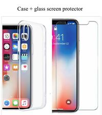 Premium Pack Clear silicone case and Screen protector for iPhone X XS XR XS Max