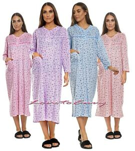Ladies Nightwear Nightie 100% Soft Cotton Plus Size Long Sleeve PJ Nightgown.