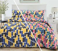Multi-Colour Geometric Soft Quilt Duvet Cover Bedding Set Single Double King