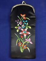 Vintage Embroidered Flowers Eyeglasses Case Holder Pouch Black
