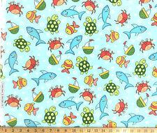 Cuddle Prints Fabri Quilt Crab Fish Flannel 100% Cotton Fabric 2.25 yard Piece