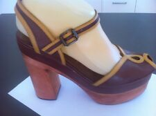 Ladies Brown Leather JEFFREY CAMPBELL HAVANA Heels AUS Size 8 EU 39 Vintage Styl