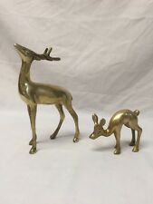 Vintage Brass Deer Figurines/Statues - Set of 2 -Buck and Fawn
