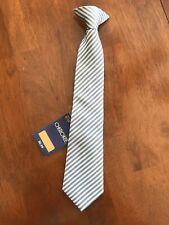 Nwt Cherokee Boy's Clip on Tie - Size M (8/10) - Gray & White Stripes
