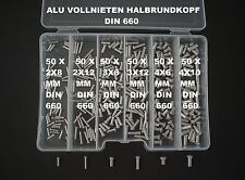 300 LOT 2/3/4 ALU RIVETS TÊTE SEMI-RONDE PLEINS VACARME 660+BOX NEUF (1)