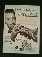 1946 Harry James Columbia Records Big Band~Swing~Jazz Music Memorabilia Promo AD