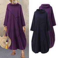 Mode Femme Col Haut Casual en vrac Loose Manche Longue Couture Robe Dresse Maxi