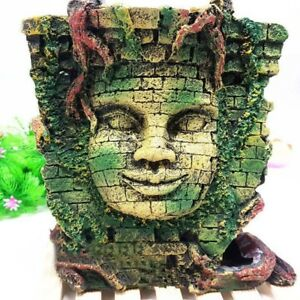 Ancient Myth Jungle Statue Ruins Cave Fish Turtle Snake Tank Aquarium Decoration