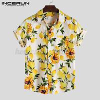 Mens Hawaiian Lemon Print Shirt Summer Beach Party Button Down Short Sleeve Tops