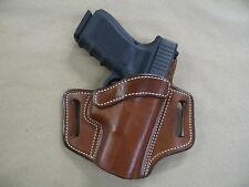 Glock 19, 23, 32 OWB Leather 2 Slot Molded Pancake Belt Holster CCW TAN  RH