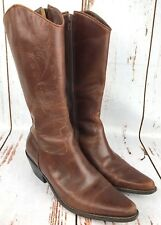 Womens Matisse Sz 6.5 6 1/2 Cowboy Cowgirl Zip Up Boot Brown Leather Flowers