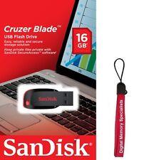 SanDisk 16GB USB SD CZ50 Cruzer Blade 16G USB 2.0 Pen Drive SDCZ50-016G +Lanyard