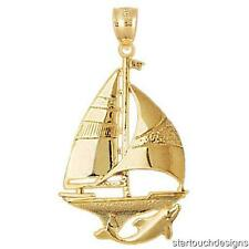 New 14K Yellow Gold Sailboat with Dolphin Pendant