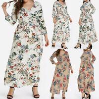 Fashion Women Casual Plus Size Flower Print V-Neck Long Sleeve Boho Loose Dress