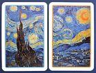 "PAIR SWAP CARDS. VINCENT VAN GOGH ""STARRY NIGHT"" IMPRESSIONIST ARTIST. PIATNIK"