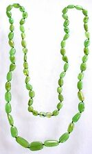 Natural Oval Green Baltic Amber Graduated 35 Inch Gemstone Necklace With Clasp