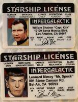 Captain Kirk & Spock 2 Star Trek Starship License Enterprise Novelty IDs Shatner