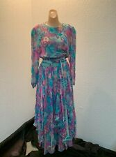 """New listing Vintage Diane Freis silk dress ruffle skirt """"deadstock"""" new with tags one size"""