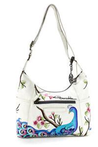 Anuschka Womens Leather Floral Print Shoulder Handbag White Multi Colored